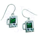 Sterling Silver Green Cubic Zirconia Beer Mug Earrings