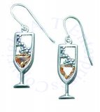 Light Yellow Cubic Zirconia Bubbly Champage Glass Earrings