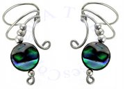 Paua Abalone Shell Round Button Bead Wave Ear Cuff Wrap Set