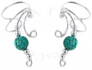 Left And Right Curly Q Turquoise Bead Ear Cuff Set
