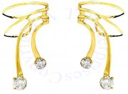 Gold Vermeil Small And Large Cubic Zirconia Short Wave Ear Cuff Set