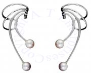 Left And Right Pierceless Long Wave White Cultured Pearl Ear Cuffs