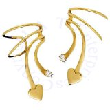 Gold Vermeil Left Right Short Wave Heart And Cubic Zirconia Ear Cuff