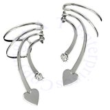 Pierceless Left And Right Short Wave Heart And Cubic Zirconia Ear Cuff