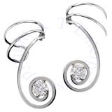 Spiral Cubic Zirconia Stone Wire Ear Cuff Wrap Set