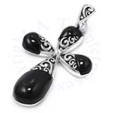 Christian Religious Cross Black Onyx And Filigree Pendant