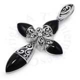 Religious Cross Round Pointed Arm Black Onyx And Filigree Pendant