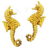 Gold Vermeil Left And Right Ocean Sea Horse Ear Cuff Set