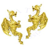 Left And Right Gold Vermeil Pierceless Flying Horned Dragon Ear Cuff