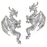Left Right Sterling Silver Pierceless Flying Horned Dragon Ear Cuff