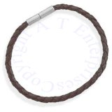 "Men's 8"" Stainless Steel Brown Leather Bracelet"