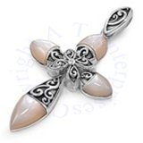 Religious Cross Round Pointed Arm Mother Of Pearl And Filigree Pendant