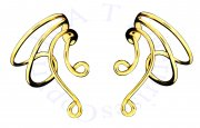 Gold Vermeil Pair Of Short Wire Extension Ear Cuff Attachable Loops