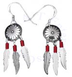 Southwest Concho Red Heshi Beads With Dangling Feathers Earrings