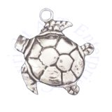 3D Sea Turtle Charm With Detail On The Shell And Flippers