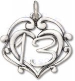 Number 13 Inside Of Heart With Scrolls Birthday Charm