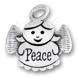 Angel Charm Enscribed With Peace