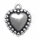 3D Antiqued Beaded Edging Heart Charm