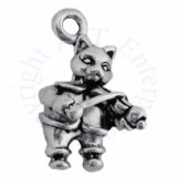 3D Cat Playing Fiddle Charm