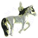 3D Walking Horse With Black Enameled Mane And Tail Charm