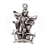 3D Guardian Angel Charm Looking Over Two Children
