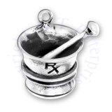3D Pharmacy RX Apothecary Grinder Mortar And Pestle Charm