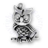3D Hoot Owl Charm Sitting On A Branch