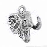 3D Rams Sheep Head With Curved Horns Charm