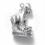 3D Shaggy Mountain Goat With Horns Standing On Platform Charm