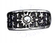 Wide Band Celestial Sun And Stars Adjustable Toe Ring