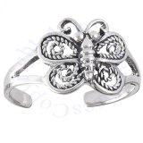 Adjustable Filigree Butterfly Toe Ring