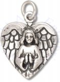 Angel In Prayer Heart Shape Charm