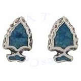 Native Arrowhead With Blue Inlay Post Earrings