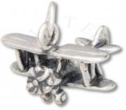 3D Two Seater Biplane Airplane Charm
