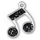 Black Cubic Zirconia Bling Music Note Charm