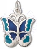 Small Enameled Navy Blue And Teal Butterfly Charm