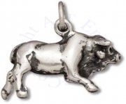 3D Walking Or Charging Horned Hereford Bull Cow Charm