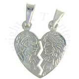 Breakable Man And Woman Heart Charm