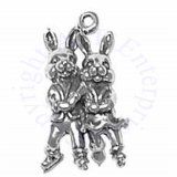 3D Bunny Rabbit Couple Ice Skating With Crossed Arms Charm