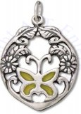 Yellow Enameled Butterfly Filigree Flowers And Leafs Circular Charm