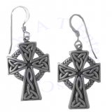 Celtic Knot Christian Cross Earrings With Celtic Triquetras