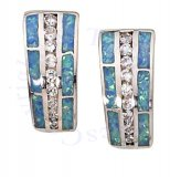 Imitation Blue Opal Inlay Cubic Zirconia Post Earrings