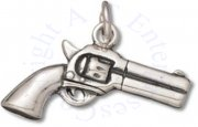 3D Cowboys Old West 45 Revolver Handgun Charm