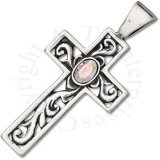 Cubic Zirconia Cross With Filgree Center Charm