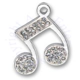 Cubic Zirconia Bling Music Note Charm