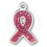 Pink Cubic Zirconia Bling Breast Cancer Awareness Ribbon Charm