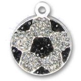 Black And Silver Cubic Zirconia Bling Soccer Ball Charm