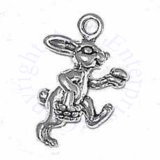 3D Walking Easter Bunny Rabbit With Egg Basket and Egg Charm