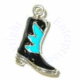 3D Enamel Black And Turquoise Cowboy Boots Charm