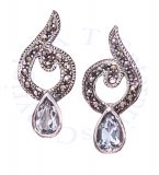 Marcasite Post Earrings Blue Topaz Tear Drop